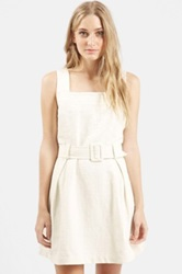 Topshop Belted Pinafore Dress White