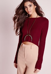 Missguided Zip Back Cropped Sweater Burgundy