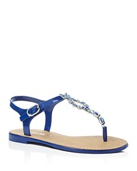 Ivanka Trump Adoren Embellished T Strap Thong Sandals Medium Blue