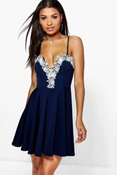 Boohoo Lace Plunge Trim Skater Dress Navy