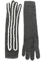 Claire Barrow Rope Applique Long Gloves Grey
