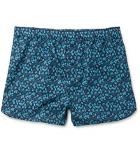Derek Rose Printed Cotton Boxer Shorts Blue