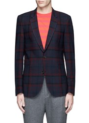 Paul Smith 'Soho' Muted Check Plaid Wool Blazer Blue