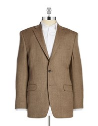 Lauren Ralph Lauren Wool Herringbone Blazer Brown