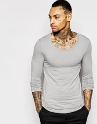 Asos Extreme Muscle Long Sleeve T Shirt With Scoop Neck In Grey Grey