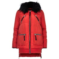 River Island Womens Red Long Sleeve Padded Jacket