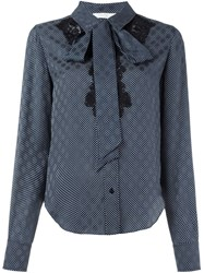 Chloe Chloe Polka Dot Lace Shirt Blue