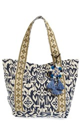 Steven By Steve Madden Ikat Print Canvas Beach Tote With Shell Tassel Charm