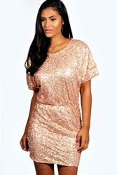 Boohoo Sequin Batwing Bodycon Dress Blush