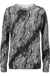 Equipment Sloan Printed Cashmere Sweater Zebra Print