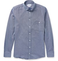 Richard James Button Down Collar Woven Cotton Shirt Blue