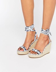 Asos Talent Tie Leg Wedge Sandals Print White
