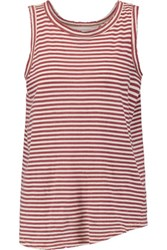 Current Elliott The Cross Back Striped Cotton Jersey Tank Brick