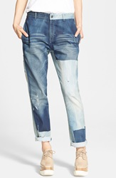 Stella Mccartney 'The Patchwork' Boyfriend Jeans Sunfaded Blue