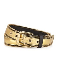 Giuseppe Zanotti Men's Metallic Zipper Trim Belt Gold
