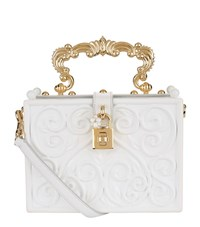 Dolce And Gabbana Baroque Padlock Top Handle Bag Female White