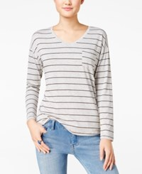 Rebellious One Juniors' V Neck Striped Pocket Tee Heather Grey Black