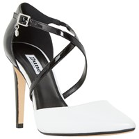 Dune Connie Two Part Pointed Toe Court Shoes Black White