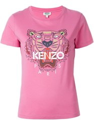 Kenzo 'Tiger' Print T Shirt Pink And Purple