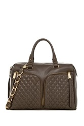 Abro Quilted Double Zip Pocket Leather Satchel Brown