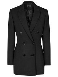 Reiss Miki Double Breasted Textured Blazer Black