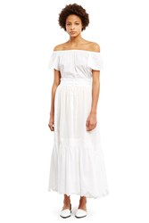 Soler Sheer Tiered Maxi Skirt White