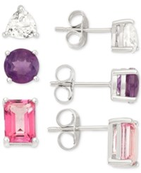 Macy's White Topaz Pink Topaz And Amethyst Earring Trio 4 1 2 Ct. T.W. In Sterling Silver