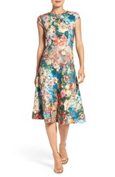 Eci Women's Floral Scuba Fit And Flare Midi Dress