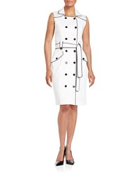 Calvin Klein Double Breasted Trench Dress White Black