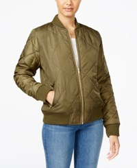Say What Juniors' Quilted Bomber Jacket Olive