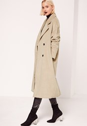 Missguided Cocoon Double Breasted Faux Wool Coat Nude Taupe