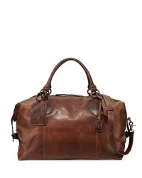 Logan Men's Leather Overnight Bag Dark Brown Frye
