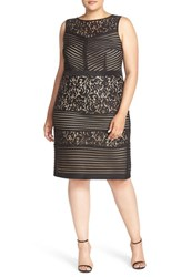 Gabby Skye Plus Size Women's Scuba Mesh And Lace Sheath Dress Black Nude