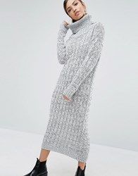 Daisy Street Knitted Maxi Dress With Roll Neck Grey