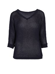 Morgan Midi Sleeved Woven V Neck Sweater Navy