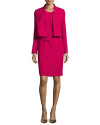 Albert Nipon Belted Sheath Dress W Matching Jacket Raspberry