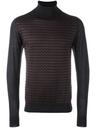 Brioni Turtleneck Zig Zag Pattern Jumper Blue
