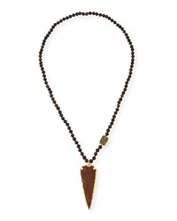 Wood Bead Arrowhead Pendant Necklace Rust Nest Jewelry