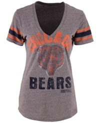 G3 Sports Women's Chicago Bears Any Sunday Rhinestone T Shirt Gray