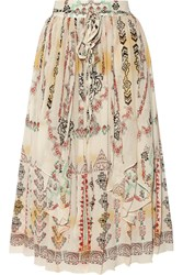 Etro Printed Crinkled Silk Chiffon Midi Skirt White