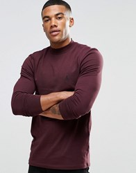 Asos Muscle Long Sleeve T Shirt With Turtle Neck And Logo In Oxblood Oxblood Red