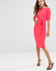 Asos Crepe Pencil Dress With Knot Detail Coral Pink