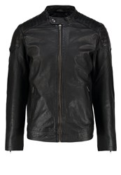 Jack And Jones Jorjoe Leather Jacket Black