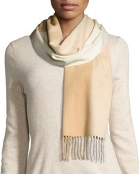 Neiman Marcus Cashmere Colorblock Scarf Ivory Camel