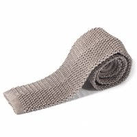 Nick Bronson Plain Knitted Silk Tie Ash Grey