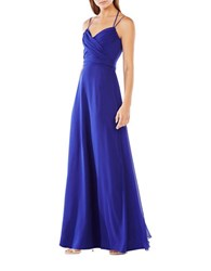 Bcbgmaxazria Halter Neck Chiffon Wrap Gown Regal Blue