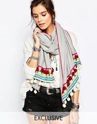 Blank Bl Nk Oversized Scarf With Multi Coloured Pom Poms In Grey Grey