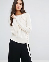 Sisley Jumper In Chunky Textured Knit With Lace Up Detail Cream