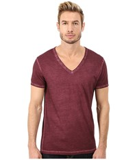 Boss Orange Toulouse Garment Dyed Jersey Fashion Fit Short Sleeve V Neck Tee Dark Pink Men's T Shirt