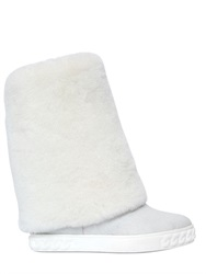 Casadei 90Mm Shearling Wedge Boots